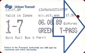 UTA Green Travelpass Ticket from 31st July 1989 ticket number 126960 issued by machine 602 at Manly - from Rob O'Regan's web site