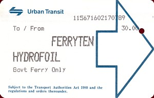 UTA Hydrofoil FerryTen Ticket from 17th July 1989 ticket number 115671 issued by machine 602 at Manly