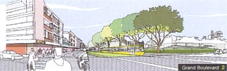 Artists impression of Belgrave Street as Grand Boulevard