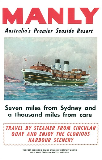 Full poster featuring Manly Ferry South Steyne Crossing the Heads to Manly circa 1939